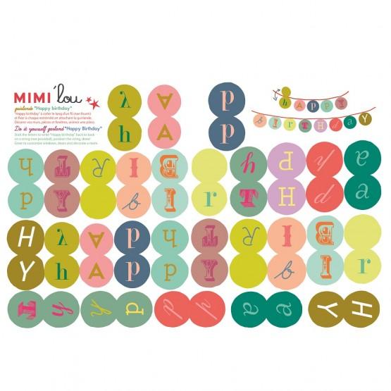Αυτοκολλητη Γιρλαντα Happy Birthday Mimilou