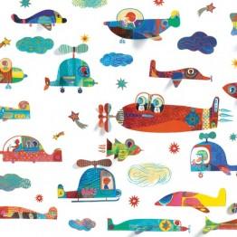 Djeco Αυτοκόλλητα τοίχου 'ιπταμενα αυτοκινητα'