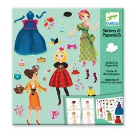 Djeco Ντύνω με αυτοκόλλητα γυναίκες με φορέματα σε κάρτες
