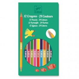 Djeco ξυλομπογιές διπλές 24 χρώματα
